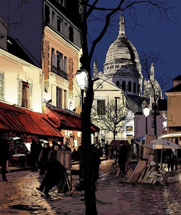 手绘欧洲城市街景