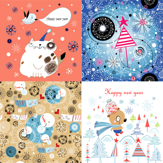 手绘线稿,新年卡片,小鸟,猫咪,圣诞树,线描花纹,新年快乐图片素材