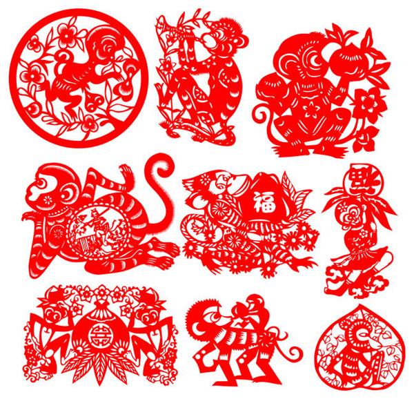 2016猴年传统艺术剪纸图片大全ai素材