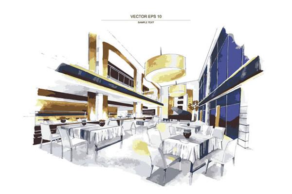 草图,室内设计,水彩,吊灯,桌椅,餐厅,矢量图,eps格式 下载文件特别