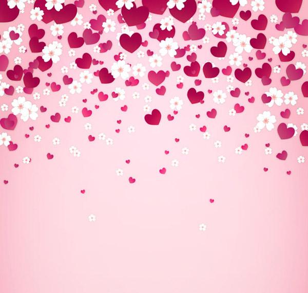 爱心与樱花背景 素材中国sccnn Com