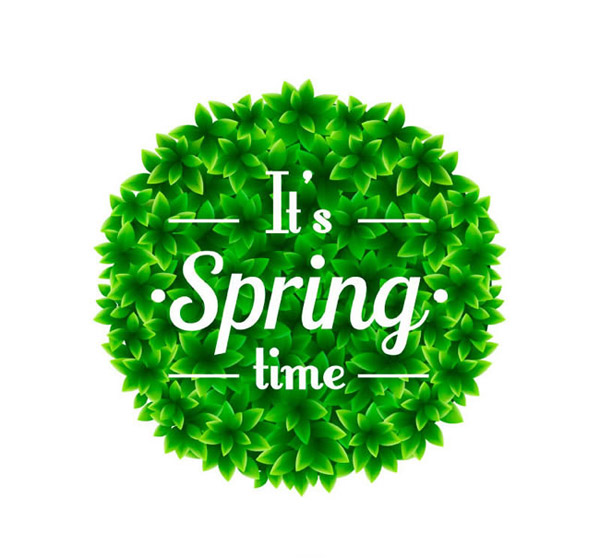绿色春季树叶组合圆形矢量素材下载,春,树叶,绿叶,圆形,组合,叶子