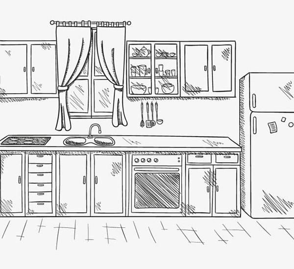 手绘整洁厨房