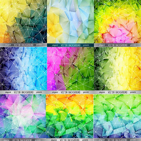 时尚几何背景矢量素材,渐变背景,炫彩几何图形,背景梦幻,多边形,彩