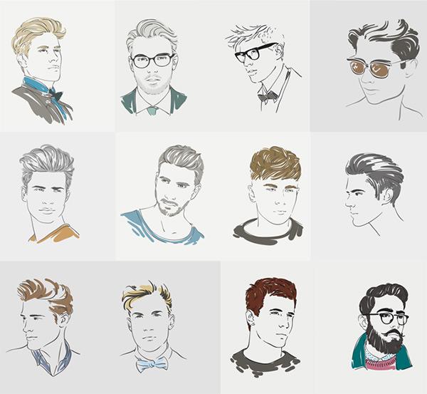 时尚男性手绘人物设计矢量素材,男性头部特写,手绘,绘画,年轻人,职业