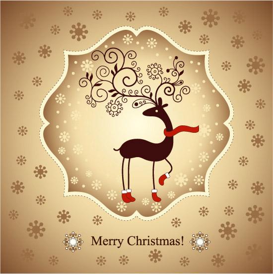 圣诞节驯鹿贺卡