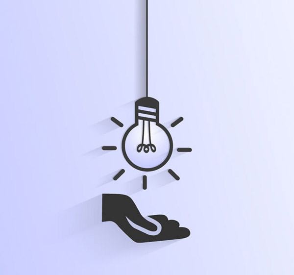 单手托举的灯泡