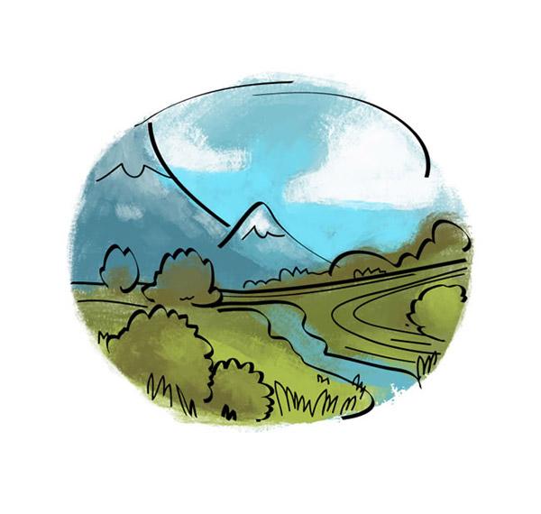 圆形水彩风景画_素材中国sccnn.com
