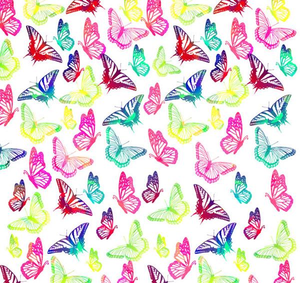 素材分类: 矢量背景所需点数: 0 点 关键词: 彩绘蝴蝶无缝背景矢量