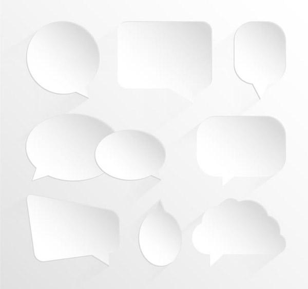 素材分类: 矢量设计元素所需点数: 0 点 关键词: 白色语言气泡矢量图片