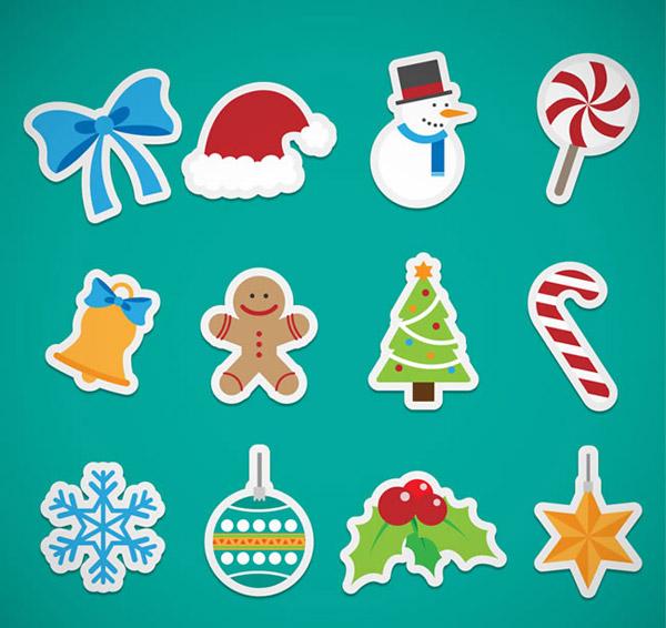 可爱圣诞贴纸_素材中国sccnn.com