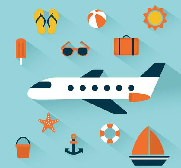 0 点 关键词: 精致度假图标矢量素材下载,海星,太阳镜,行李箱,飞机