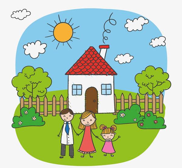 0 点 关键词: 儿童卡通风格家庭插画矢量素材下载,篱笆,房屋,花园