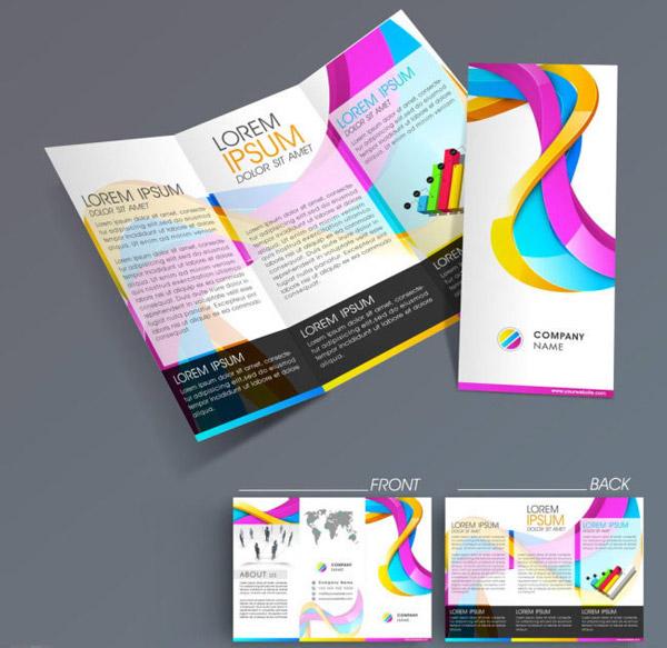 炫彩宣传单三折页设计模板eps素材