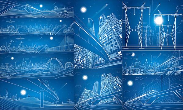 关键词: 线条建筑设计矢量素材,列车,高铁,电力铁塔,光芒,大桥,城市