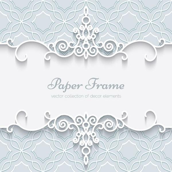 白色蕾丝花纹边框卡片矢量素材下载