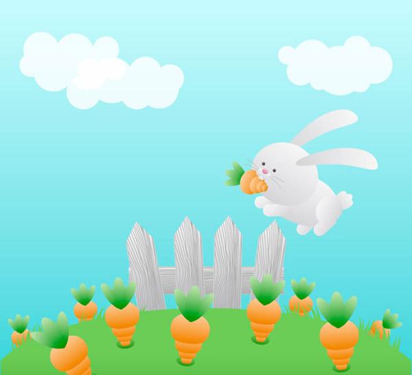 矢量卡通动物所需点数: 0 点 关键词: 胡萝卜地里的白兔矢量素材下载图片