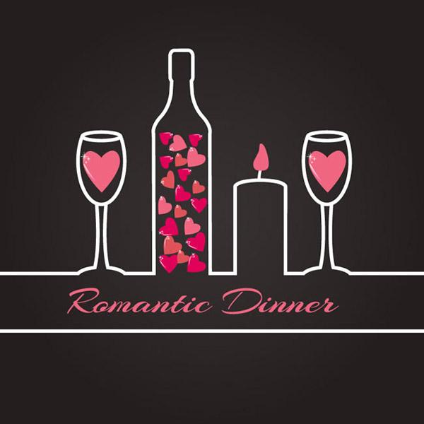 浪漫晚餐插画矢量