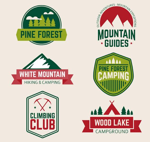 户外登山运动标签矢量素材下载