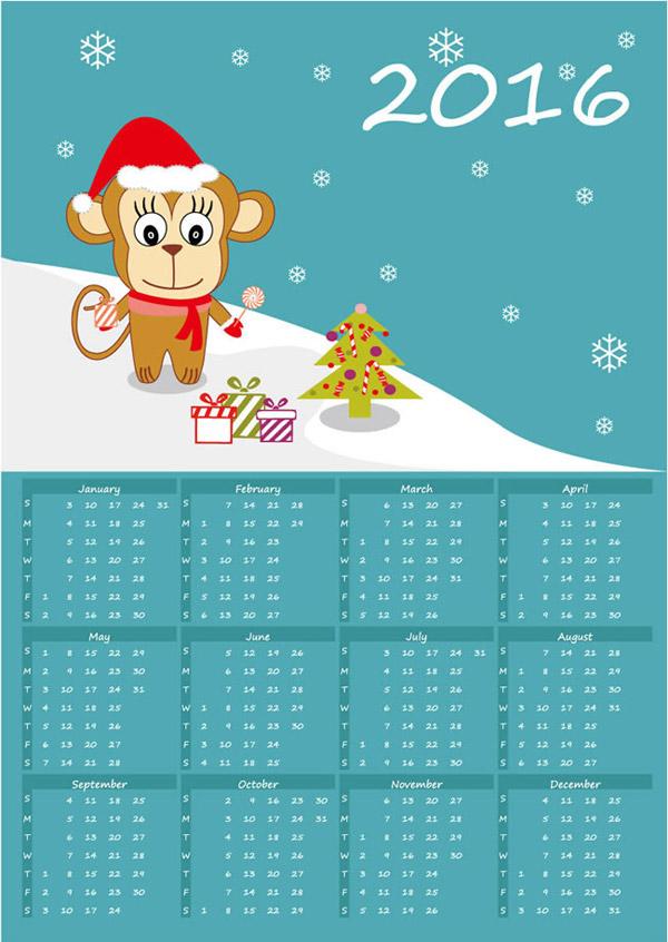 年历日历矢量所需点数: 0 点 关键词: 2016年可爱猴子年历矢量素材