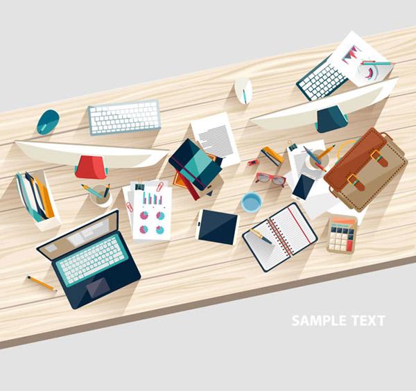 俯视图,鼠标,设计,u盘,计算器,公文包,水杯,眼镜,文档,桌面,木纹,木板