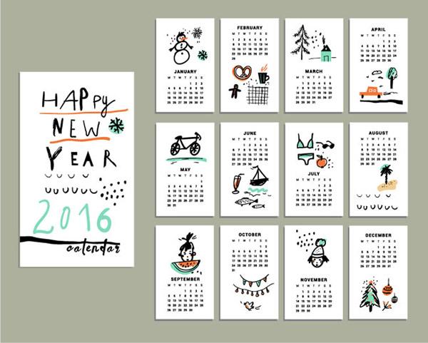2016彩绘年历卡片图片