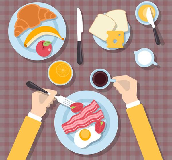 卡通餐桌俯视图