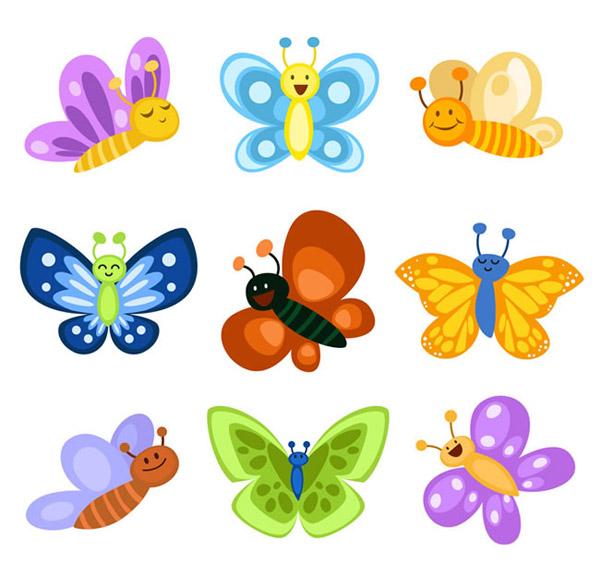 卡通蝴蝶矢量