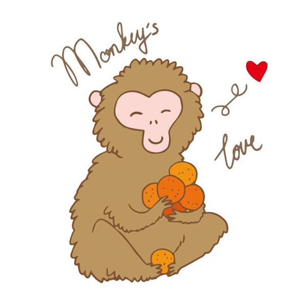 素材分类: 矢量野生动物所需点数: 0 点 关键词: 抱着水果的可爱猴子
