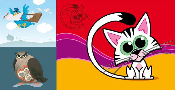 动物矢量素材,卡通,动物,猫头鹰,简笔画,信鸽,鸽子,信封,邮递,猫高清图片