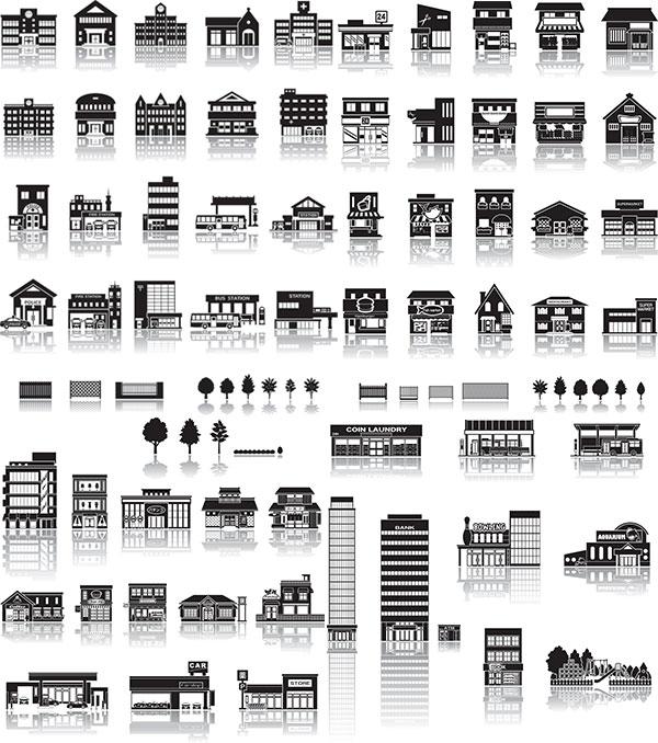 黑白建筑矢量
