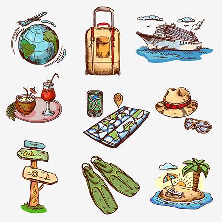 地球,旅行箱,轮船,椰子,帽子,路标,沙滩,手绘图案,手绘明信片,卡通
