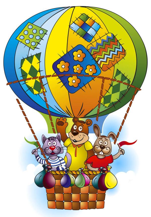 卡通动物热气球