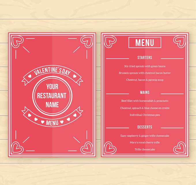 红色情人节菜单设计矢量素材,木纹,花纹,情人节,菜单,餐饮,木板,浪漫图片