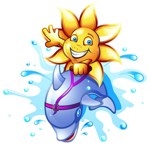 Cartoon sunflower surfing vector
