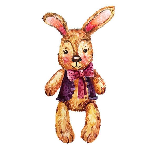 点 关键词: 可爱水彩绘兔子玩偶矢量素材下载,蝴蝶结,水彩,兔子,动物