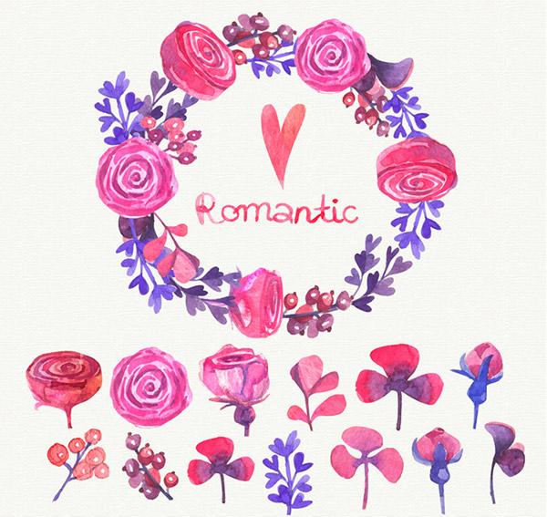 情人节手绘花环