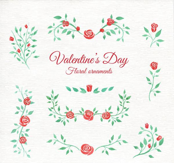 植物,情人节,玫瑰花,花边,手绘,水彩,装饰边框,底纹,节日素材,矢量