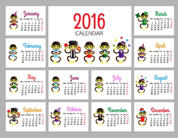 2016年猴年年历图片