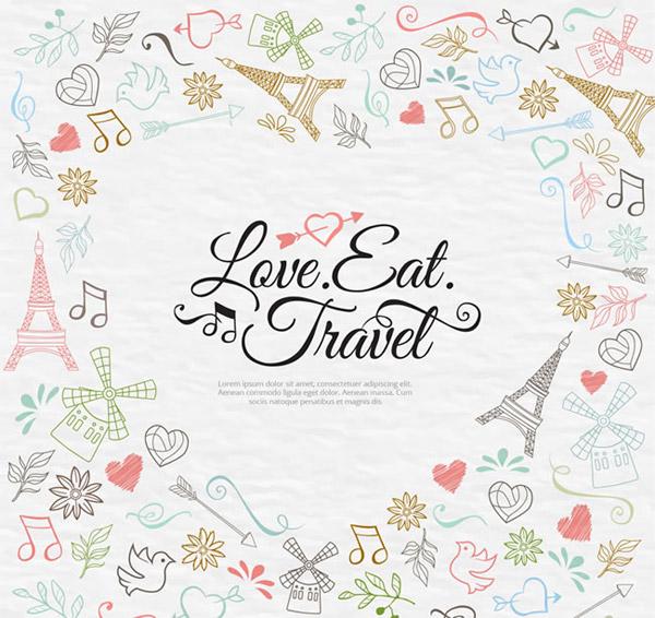 爱心,树叶,丝带,磨坊,鸟,旅行,美食,爱,埃菲尔铁塔,音符,矢量图,ai