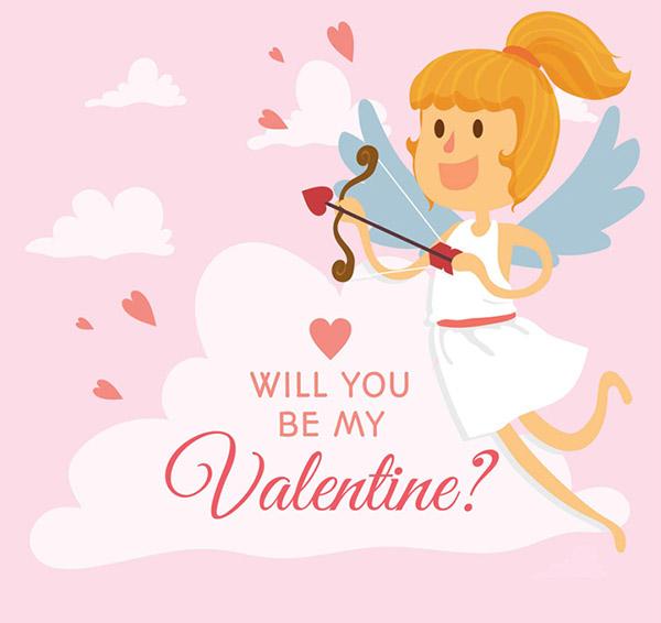 天使,爱心,情人节,贺卡