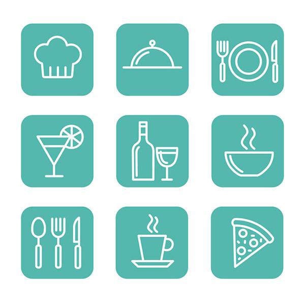 方形餐饮图标图片