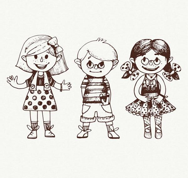 可爱手绘儿童