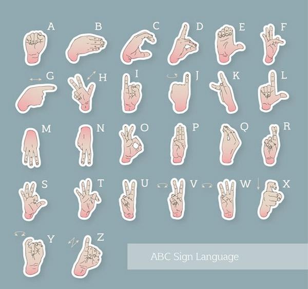 手势字母贴纸