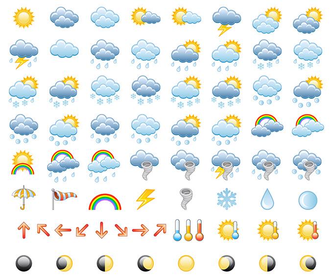 0 点 关键词: 天气图标大全矢量素材,天气图标,晴天,多云,阴天,下雨