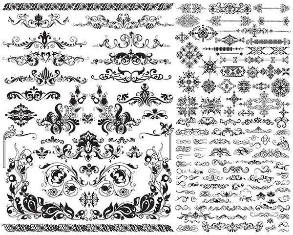 欧式花纹,边框,边角,装饰花纹,传统花纹,古典花纹,装饰元素,矢量飘带