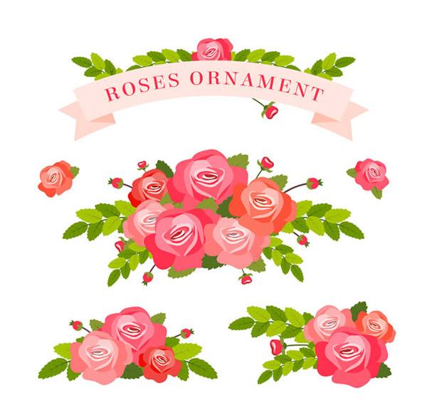 美丽玫瑰花束和丝带矢量素材下载