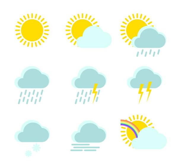 清新天气图标矢量素材下载