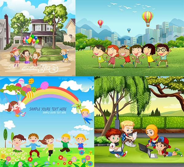 卡通儿童插画设计矢量素材,风景插画,自然美景,卡通画,游玩的儿童,学习教育插画,自然风光,空间环境,矢量素材,AI格式