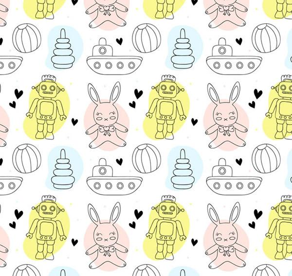 机器人和兔子背景